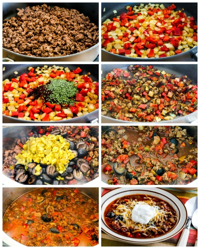 Instant Pot Low-Carb Ground Beef Olive Lover's Chili process shots collage