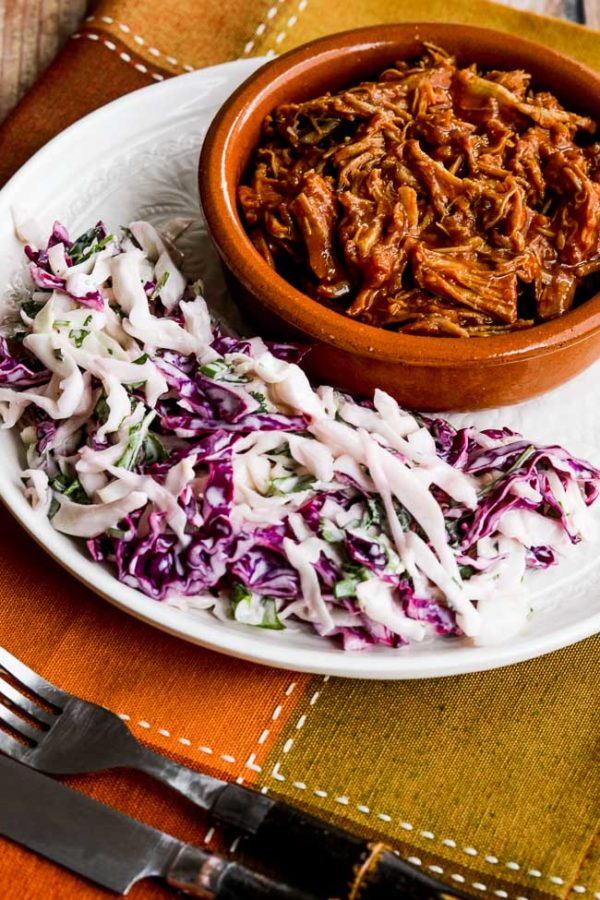 Instant Pot Pulled Pork with Low-Sugar Barbecue Sauce found on KalynsKitchen.com