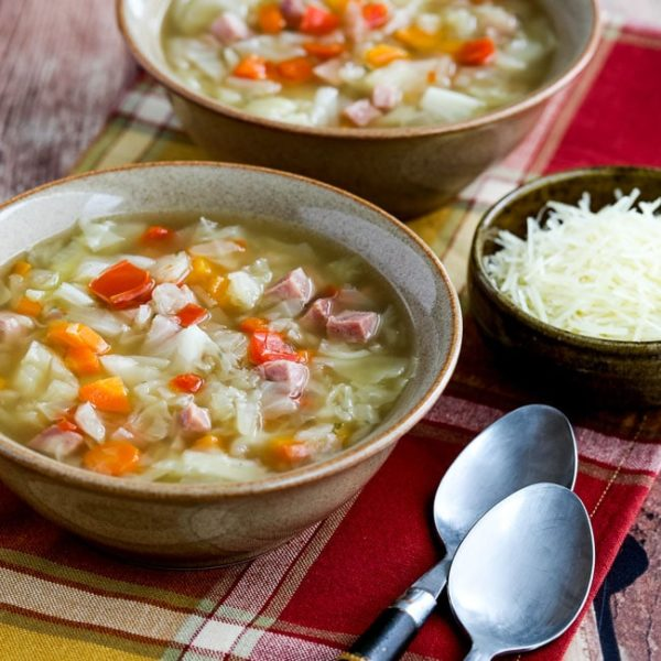 Instant Pot Low-Carb Ham and Cabbage Soup found on KalynsKitchen.com