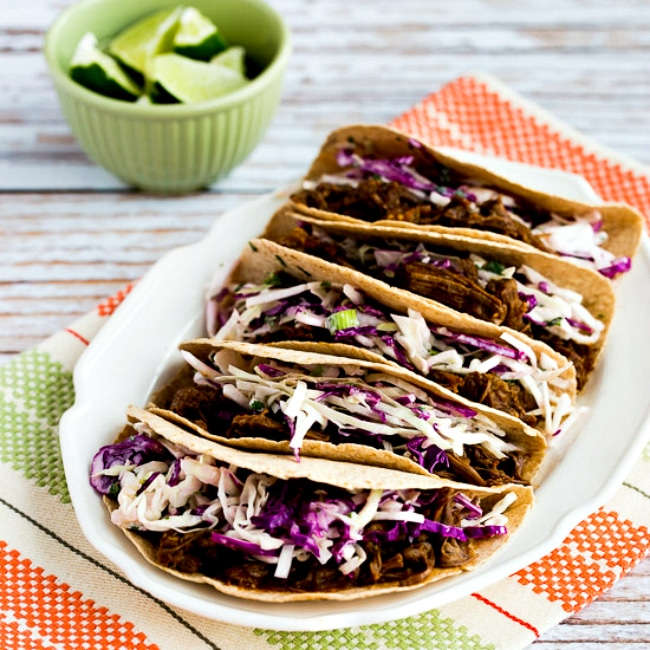 Pressure Cooker (or Slow Cooker) Low-Carb Flank Steak Tacos thumbnail photo
