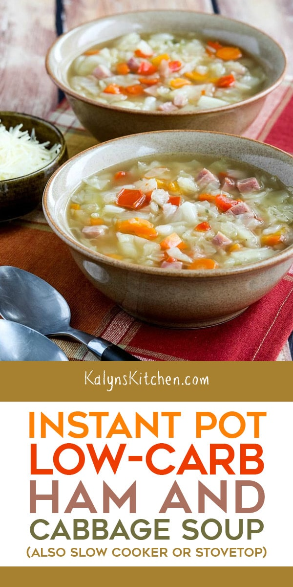 Pinterest image of Instant Pot Low-Carb Ham and Cabbage Soup (also Slow Cooker or Stovetop)