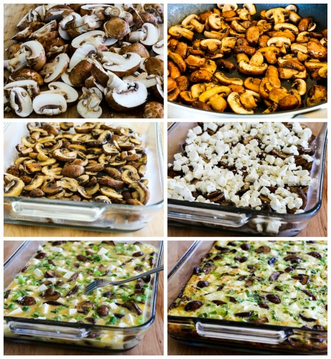 Low-Carb Mushroom and Feta Breakfast Casserole process shots collage