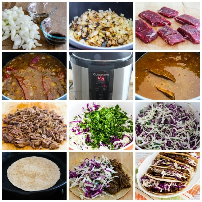 Pressure Cooker (or Slow Cooker) Low-Carb Flank Steak Tacos process shots collage