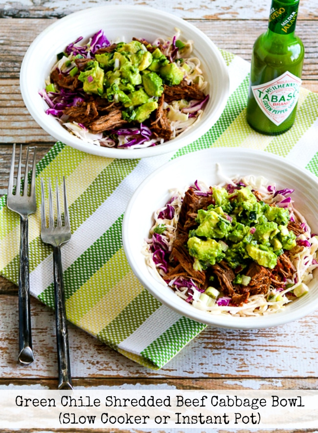 Green Chile Shredded Beef Cabbage Bowl title photo