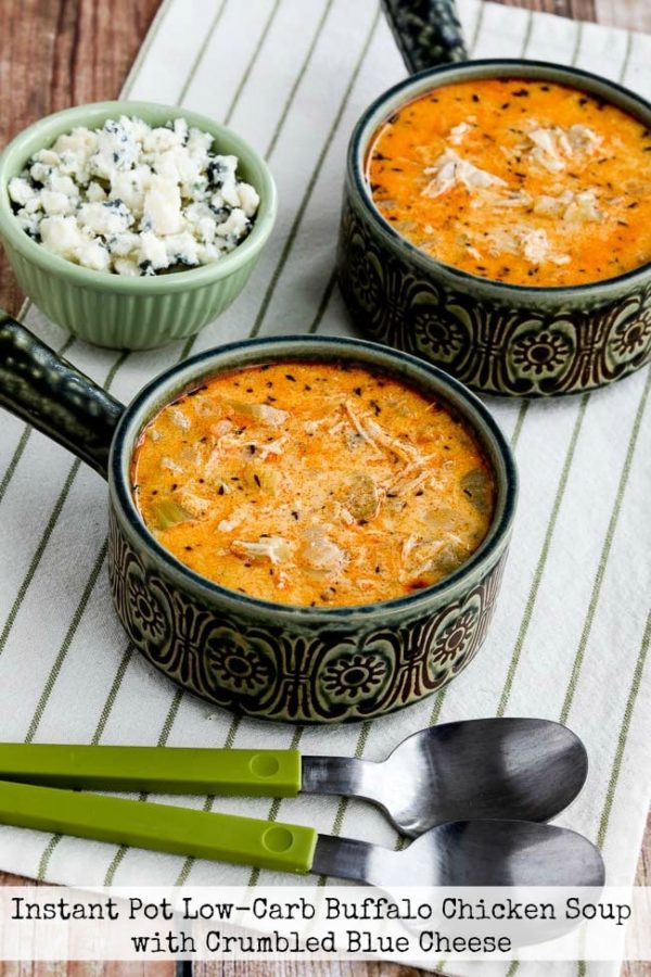 Instant Pot Low-Carb Buffalo Chicken Soup with Crumbled Blue Cheese found on KalynsKitchen.com