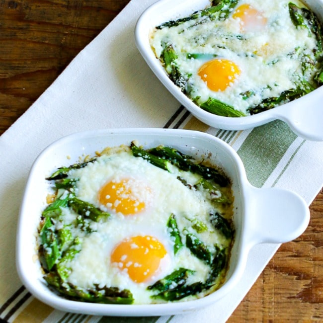 Baked Eggs and Asparagus with Parmesan thumbnail photo