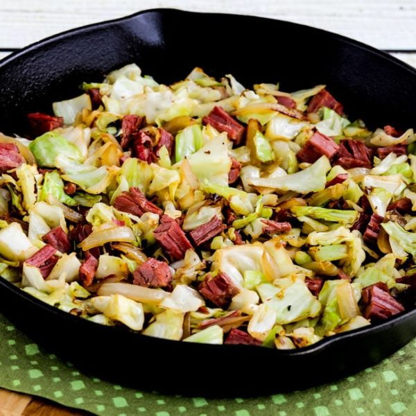 Low-Carb Fried Cabbage with Corned Beef found on KalynsKitchen.com