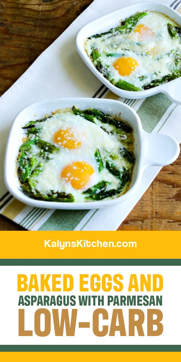 Pinterest image of Baked Eggs and Asparagus with Parmesan