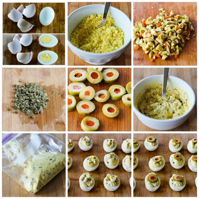 Deviled Eggs with Green Olives, Capers, and Dijon process shots collage