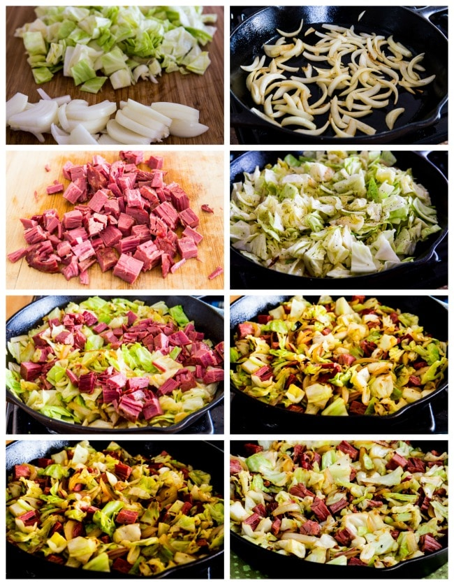 Low-Carb Fried Cabbage with Corned Beef process shot photos