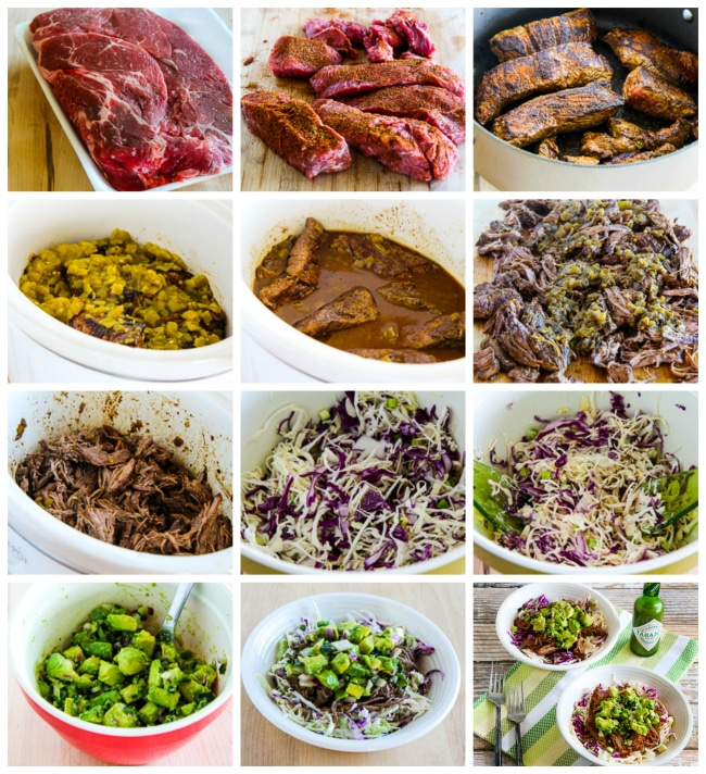 Green Chile Shredded Beef Cabbage Bowl process shots collage