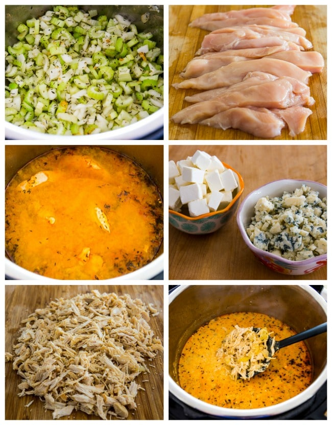 Instant Pot Low-Carb Buffalo Chicken Soup with Crumbled Blue Cheese process shots collage