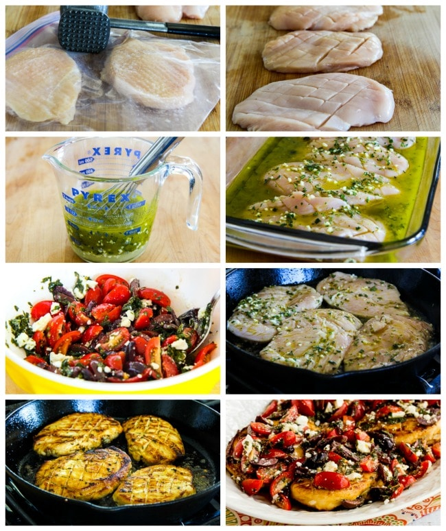 Sauteed Greek Chicken process shots collage