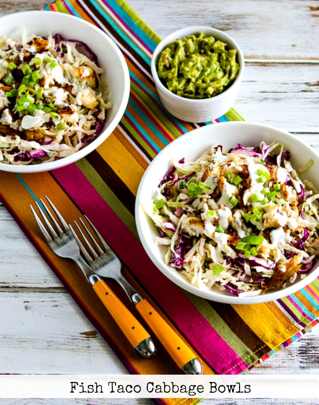 Fish Taco Cabbage Bowls finished dish photo with text overlay