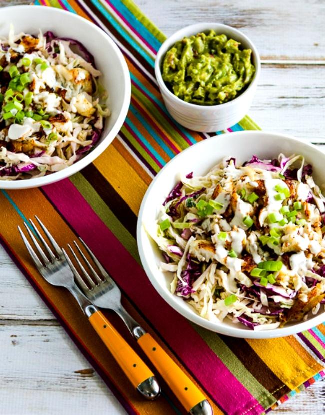 Fish Taco Cabbage Bowls close-up photo