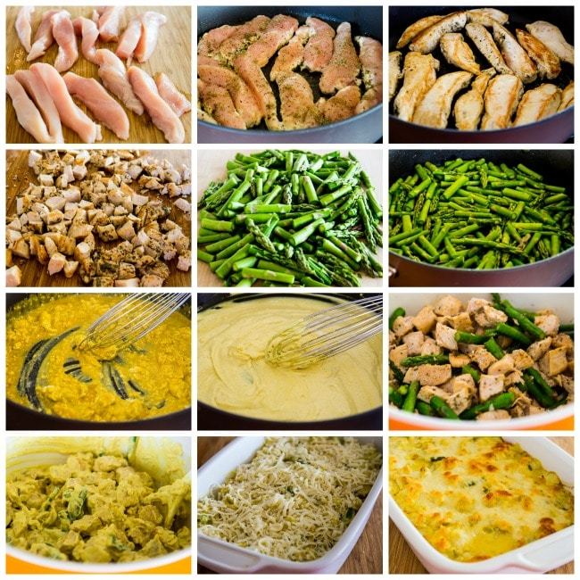 Low-Carb Chicken and Asparagus Bake with Creamy Cheesy Curry Sauce process shots collage