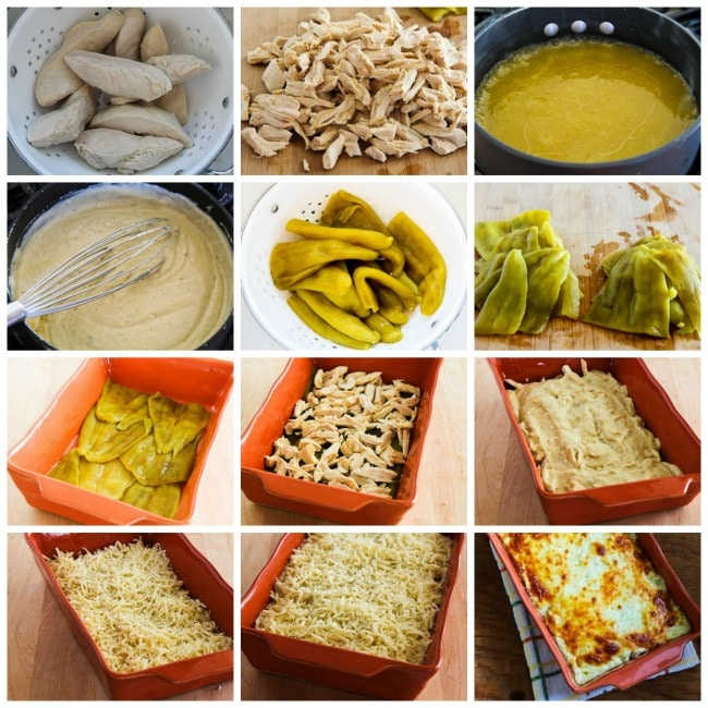 Green Chile and Chicken Mock Enchilada Casserole process shots collage