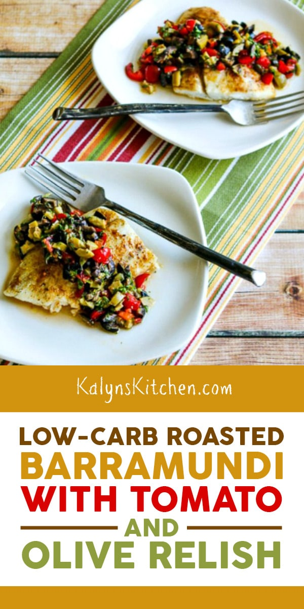 Pinterest image of Low-Carb Roasted Barramundi with Tomato and Olive Relish