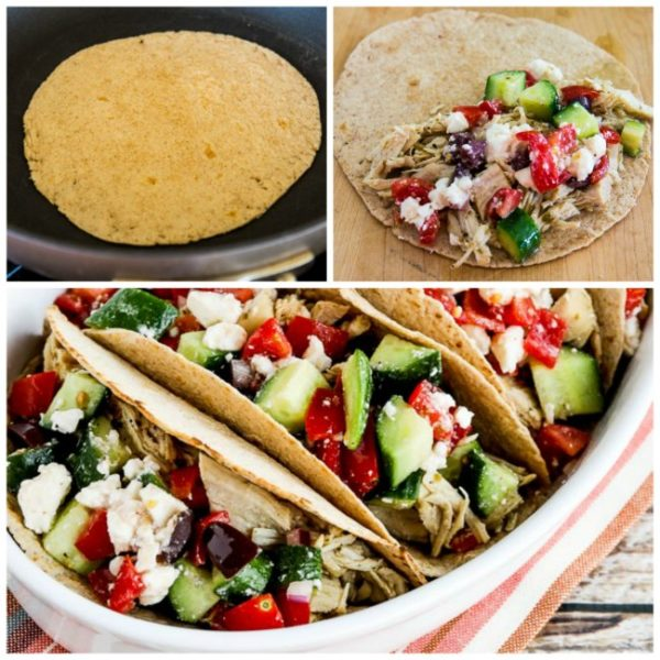 Instant Pot Low-Carb Greek Chicken Tacos found on KalynsKitchen.com