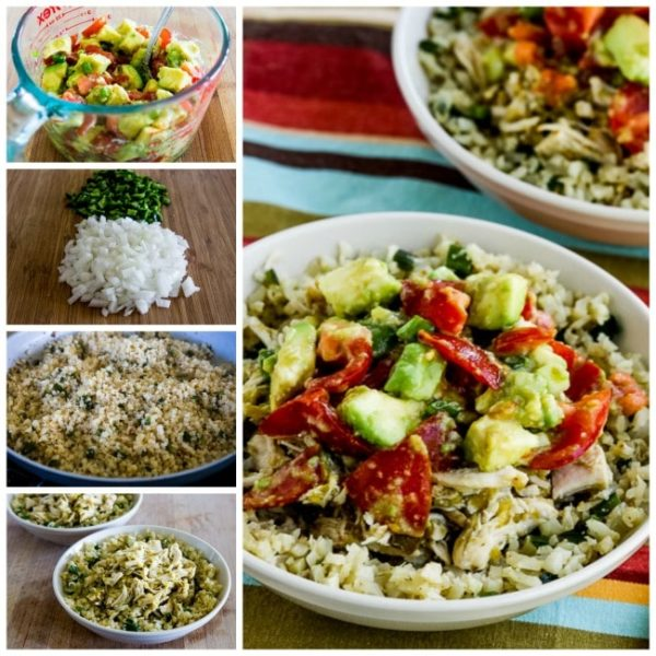 Instant Pot Low-Carb Green Chile Chicken Burrito Bowl found on KalynsKitchen.com