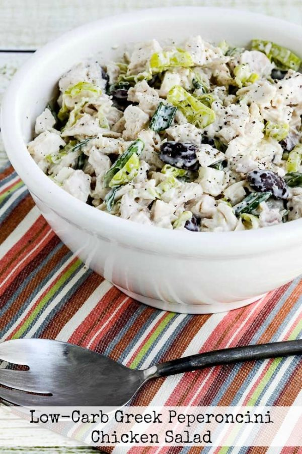 Low-Carb Greek Peperoncini Chicken Salad found on KalynsKitchen.com