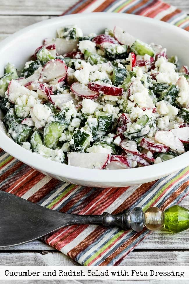 Cucumber and Radish Salad with Feta Dressing finished salad in bowl