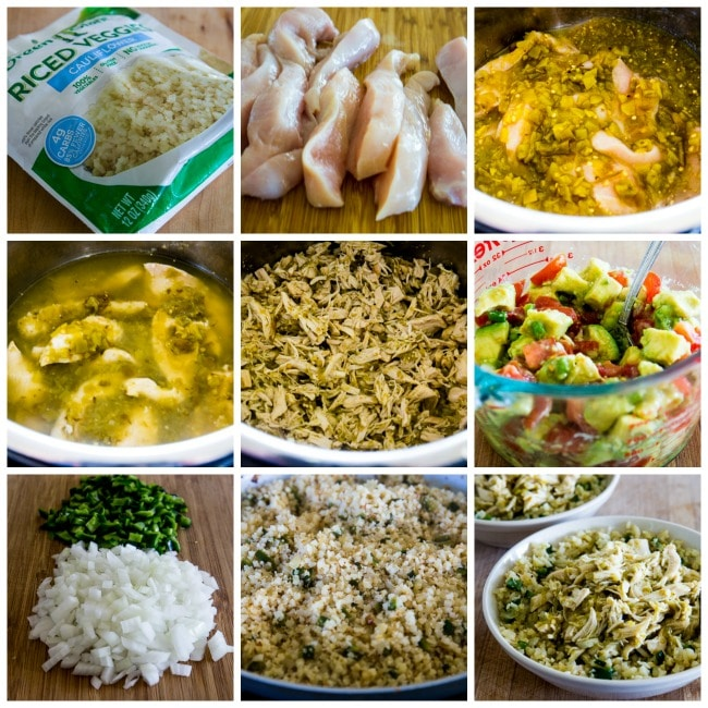 Instant Pot Low-Carb Green Chile Chicken Burrito Bowl process shots collage