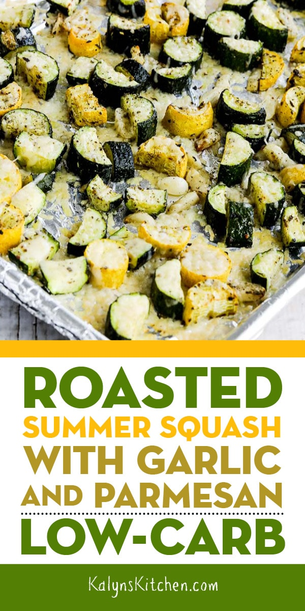 Pinterest image of Roasted Summer Squash with Garlic and Parmesan
