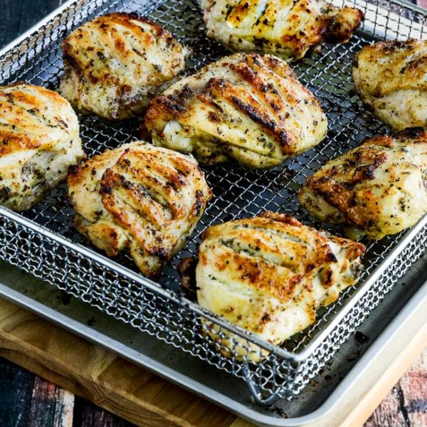 Low-Carb Herb Marinated Air Fryer (or Oven) Chicken Thighs found on KalynsKitchen.com