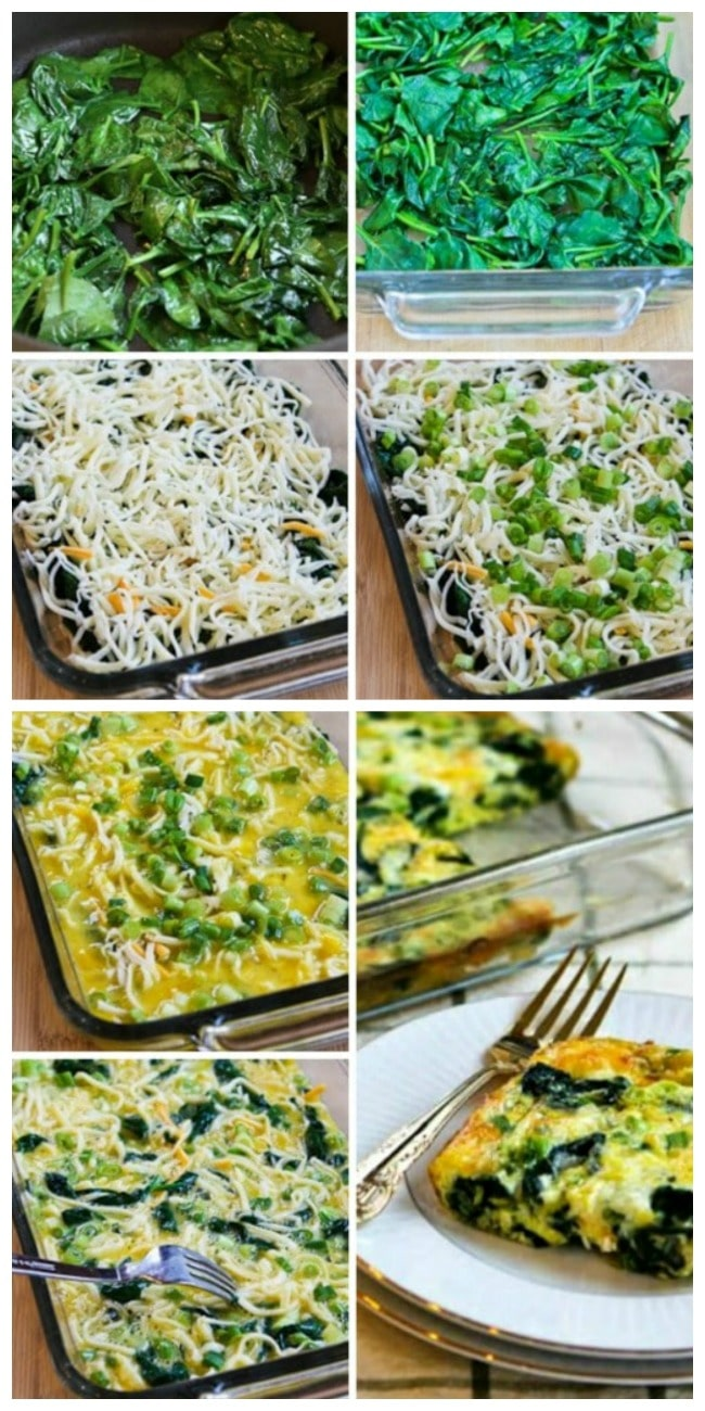 Spinach and Mozzarella Egg Bake process shots collage