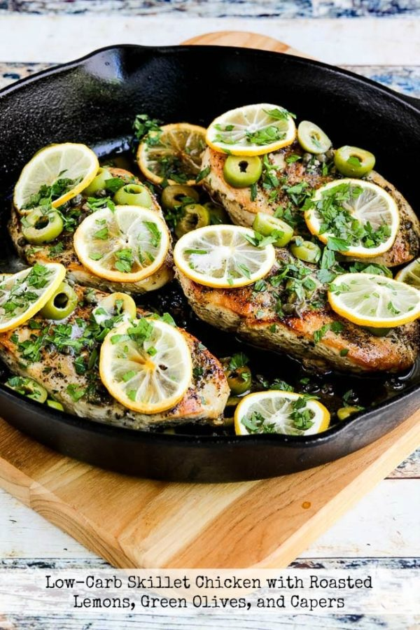 Low-Carb Skillet Chicken with Roasted Lemon found on KalynsKitchen.com