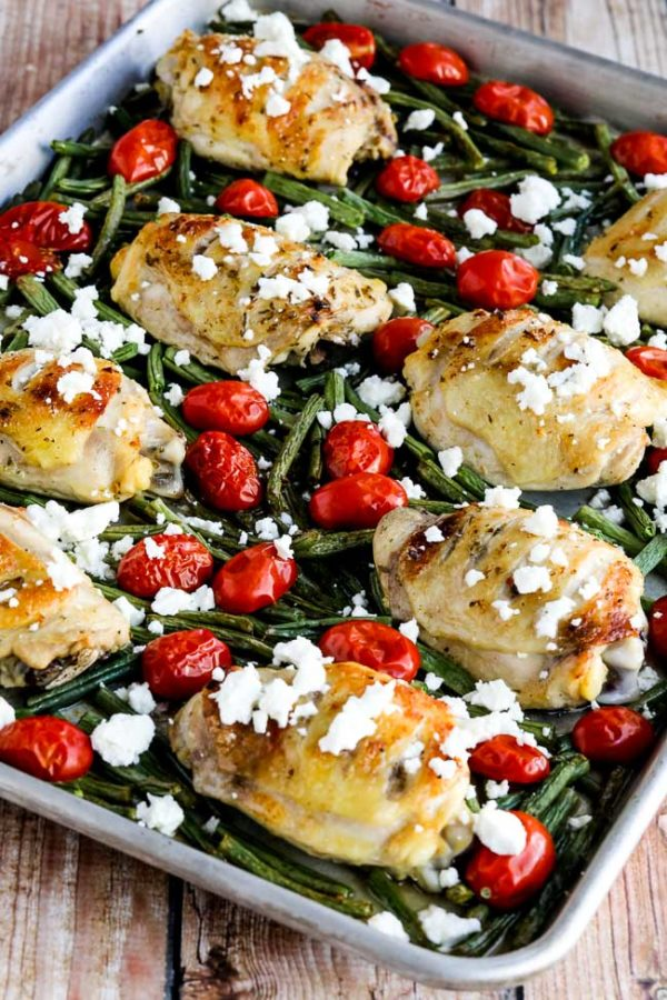Greek Chicken, Green Beans, and Tomatoes Sheet Pan Meal found on KalynsKitchen.com