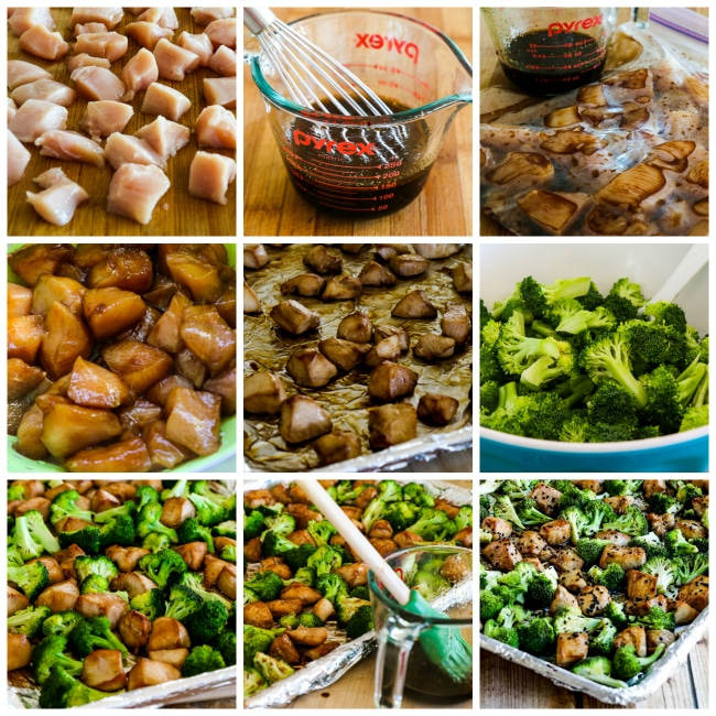 Low-Carb Sesame Chicken and Broccoli Sheet Pan Meal process shots collage