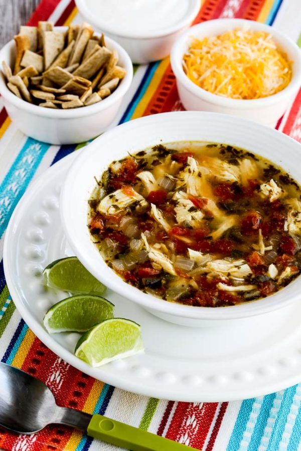 Instant Pot Low-Carb Chicken Tortilla Soup found on KalynsKitchen.com