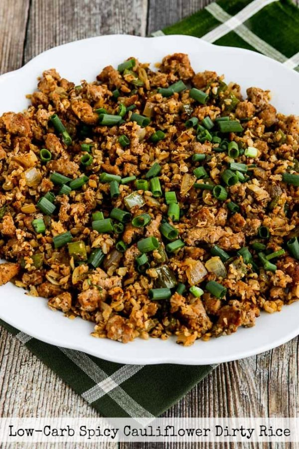 Low-Carb Spicy Cauliflower Dirty Rice found on KalynsKitchen.com