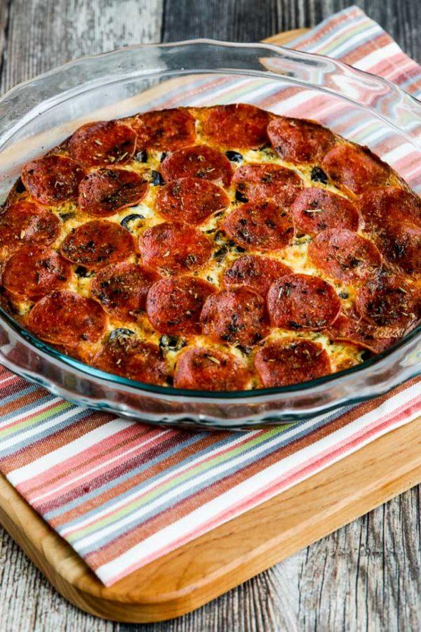 Pepperoni Pizza Keto Crustless Quiche found on KalynsKitchen.com