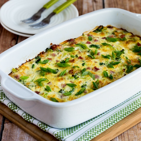 Low-Carb Broccoli, Ham, and Mozzarella Baked with Eggs thumbnail photo
