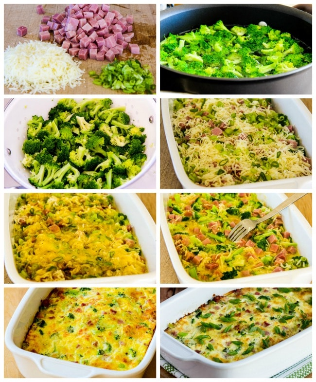 Low-Carb Broccoli, Ham, and Mozzarella Baked with Eggs process shots collage