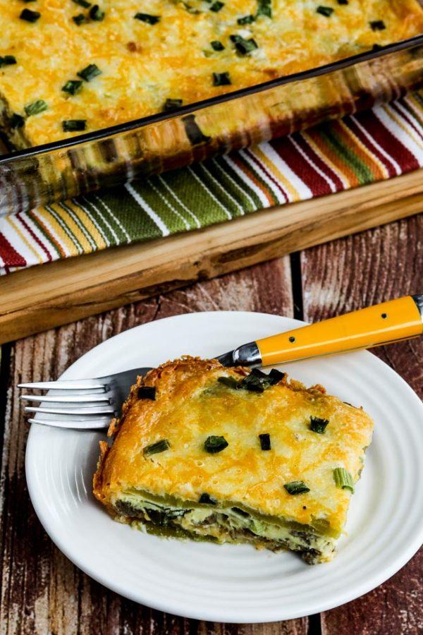 Cheesy Low-Carb Sausage and Green Chile Breakfast Bake found on KalynsKitchen.com