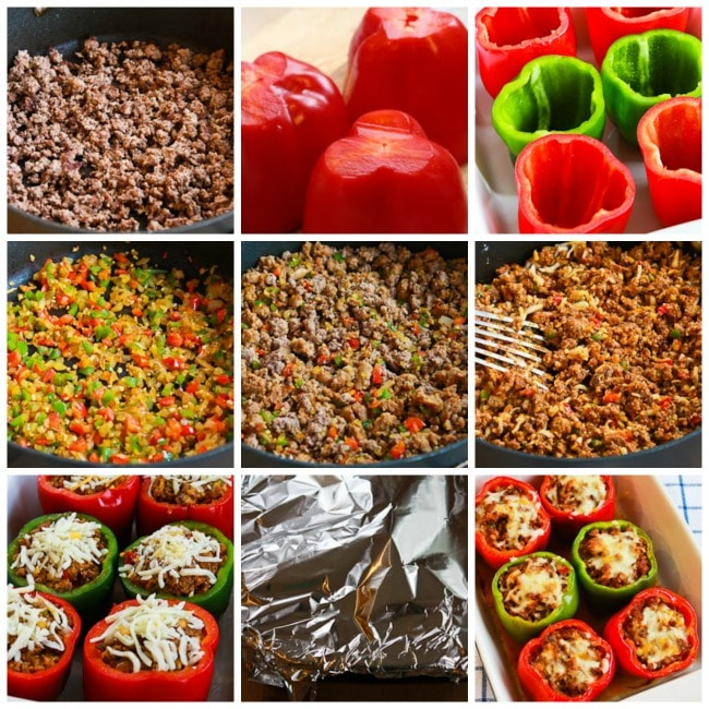 Low-Carb Stuffed Peppers with Italian Sausage, Ground Beef, and Mozzarella process shots collage