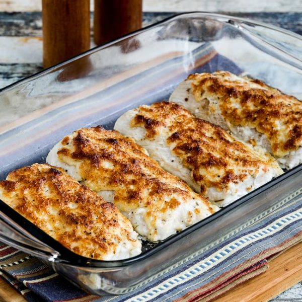 Easy Low-Carb Baked Mayo-Parmesan Fish found on KalynsKitchen.com