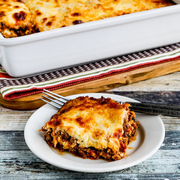 Low-Carb No-Noodle Lasagna with Sausage and Basil found on KalynsKitchen.com