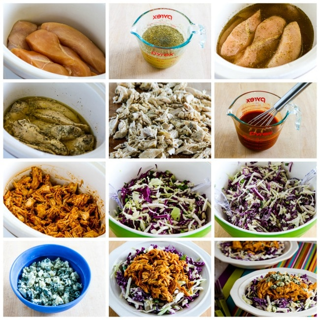 Buffalo Chicken and Blue Cheese Cabbage Bowl process shots collage
