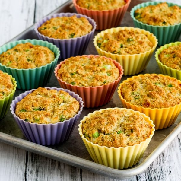 Low-Carb High-Fiber Savory Muffins with Parmesan and Green Onions found on KalynsKitchen.com
