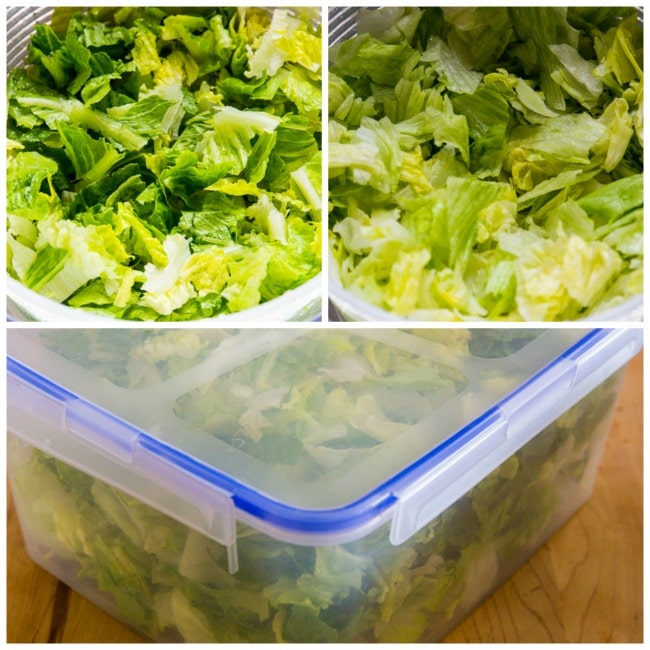 Preparing the lettuce for low-carb taco salad