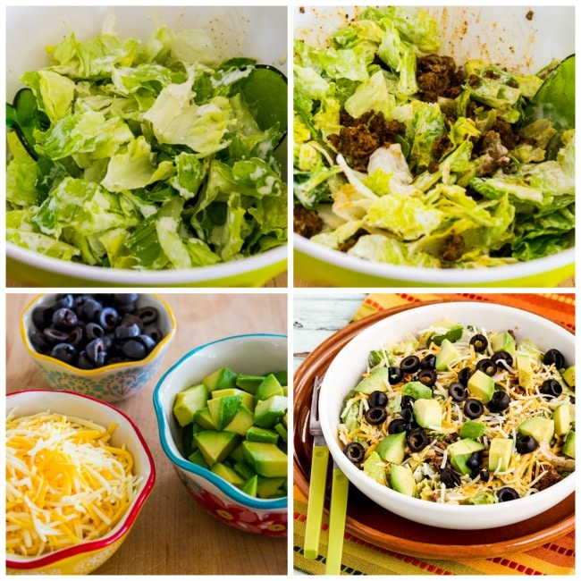 assembling perfect taco salad collage photo