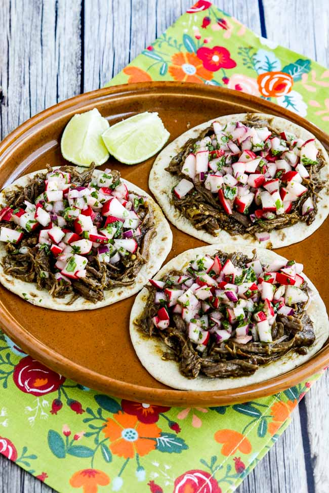 Close-up photo for Instant Pot Low-Carb Spicy Shredded Beef Street Tacos
