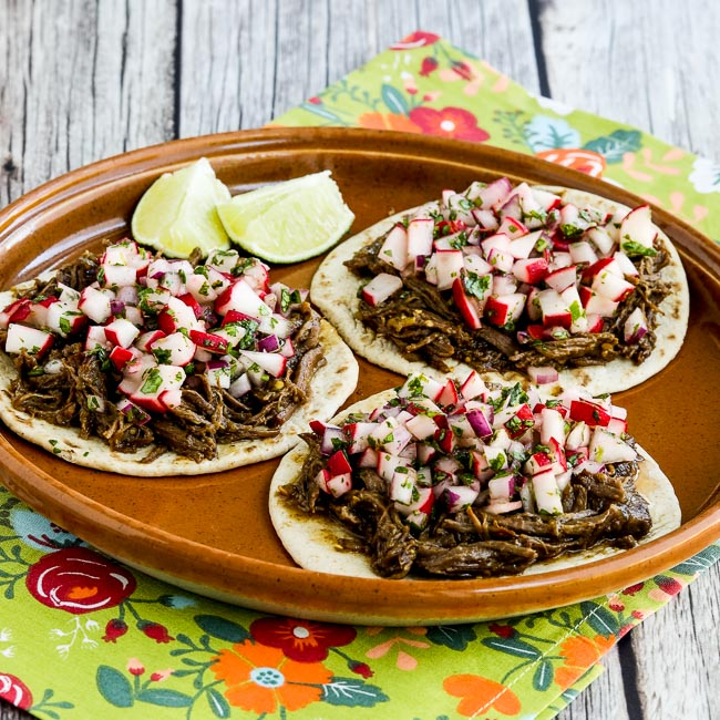 Thumbnail photo for Instant Pot Low-Carb Spicy Shredded Beef Street Tacos