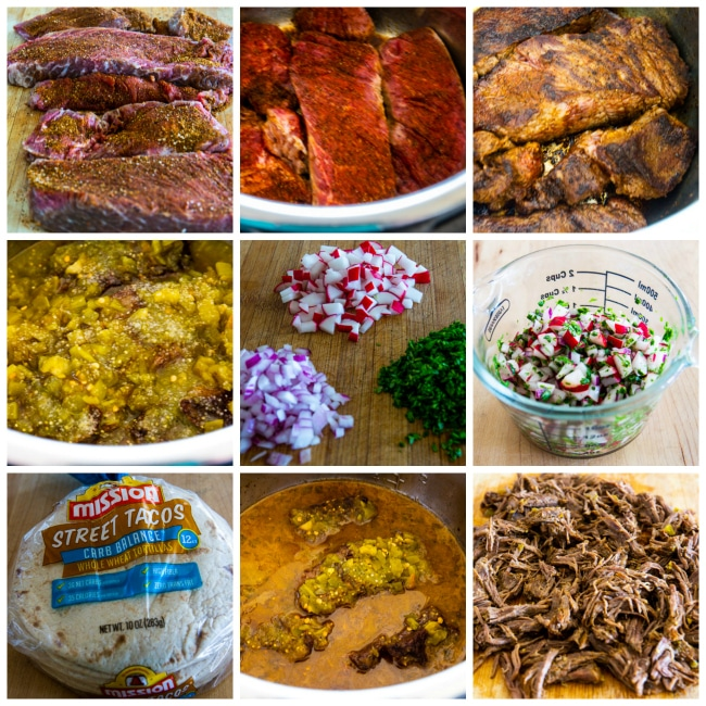 Process photo collage for Instant Pot Low-Carb Spicy Shredded Beef Street Tacos