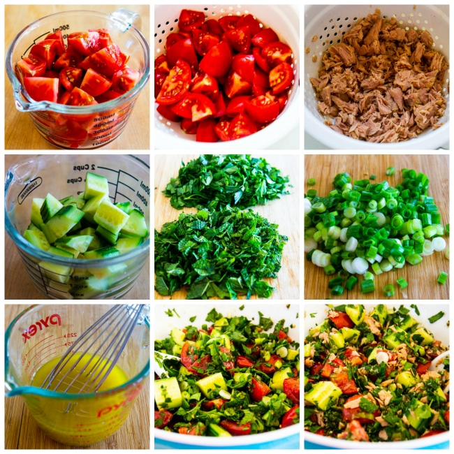 Collage photo for Tuna Salad with Tomatoes, Cucumber, Parsley, and Mint